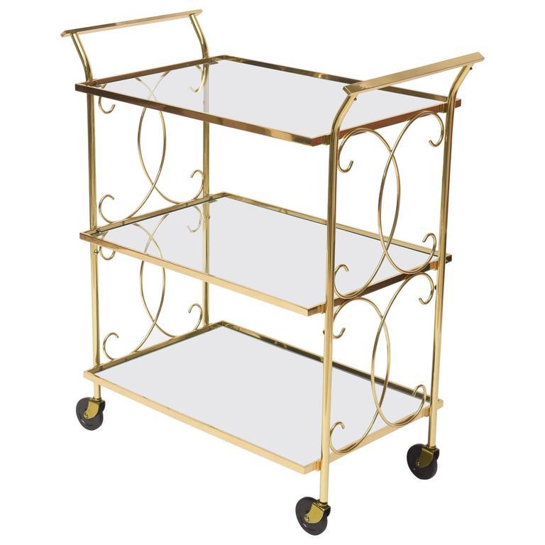 Mid-Century Italian Brass Bar Cart