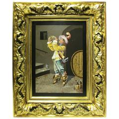 Italian 19th-20th Century Pietra Dura Plaque Depicting a Musketeer Drinking Wine