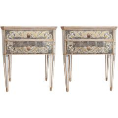 Mid-20th Century Pair of Italian Mirror & Silver Leaf Side Tables