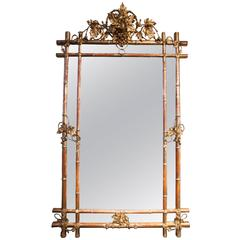 Late 19th Century French Gilt Faux Bamboo Mirror