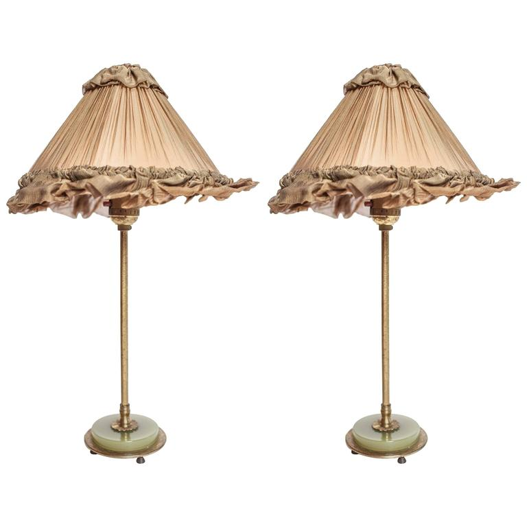 20th Century Pair of Brass and Green Onyx Lamps
