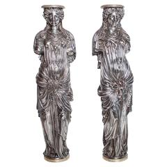 19th Century French Candlesticks Depicting Roman Women