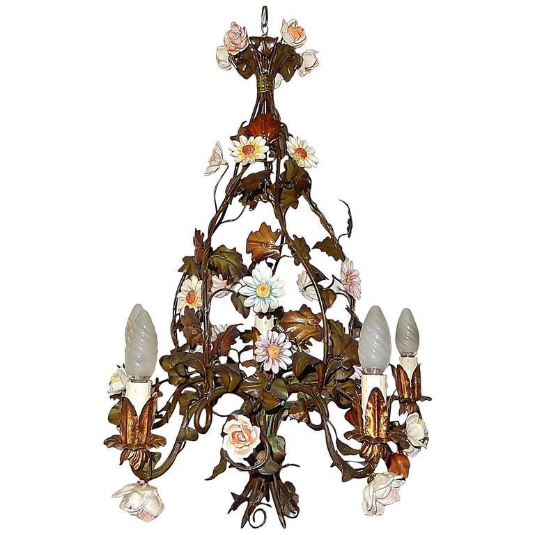 1890 Italian Tole Porcelain Flowers Chandelier