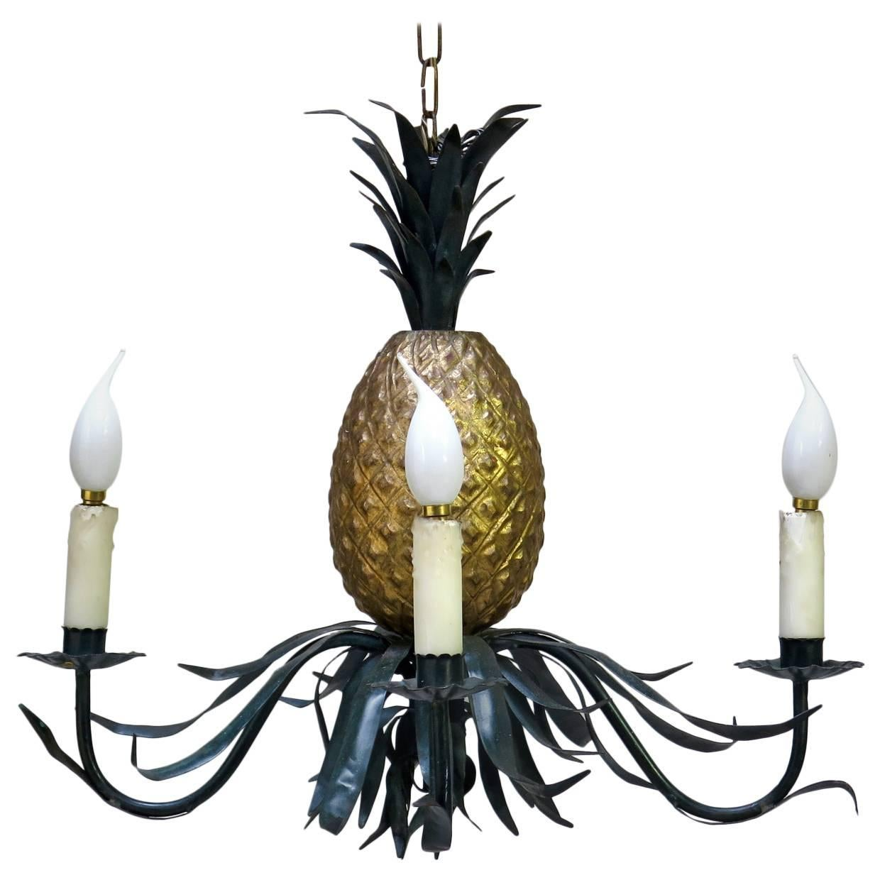 Painted Pineapple Chandelier, France, circa 1950s