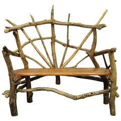 Rustic Handmade Artisan Crafted Solid Tree Log Garden Bench by Robert Powchik
