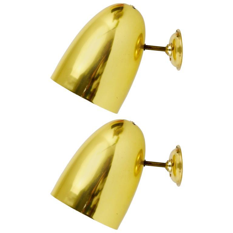 Pair of Golden Modernist Brass Sconces, Italy, 1950s