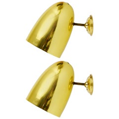 Pair of Golden Modernist Brass Sconces, Italy, 1950s