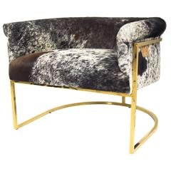 Tri-Color Cowhide Chair in Slim Brass Legs