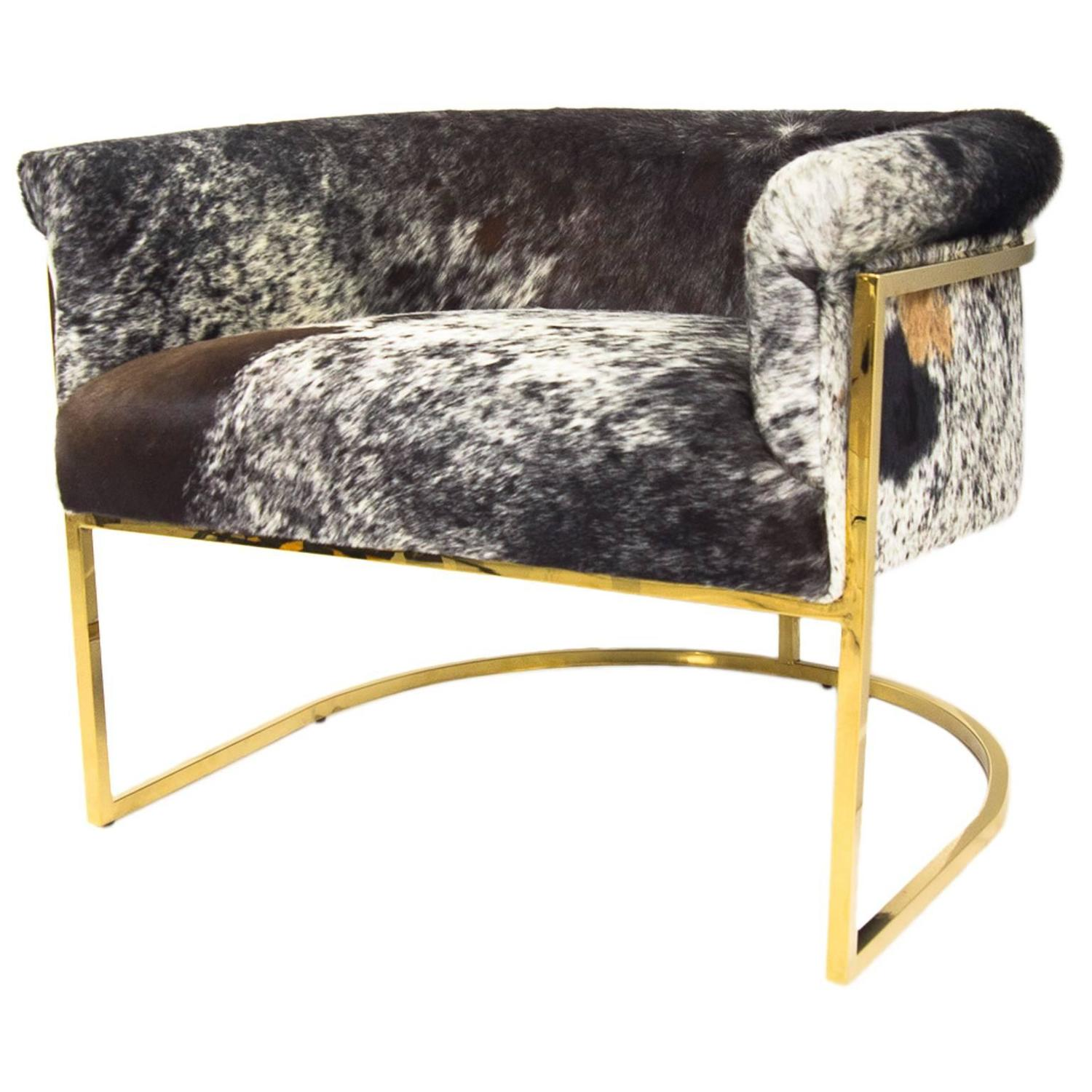 Tri-Color Cowhide Chair In Slim Brass Legs For Sale At 1stdibs