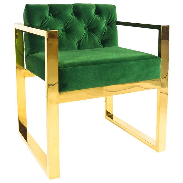 Modern Style Kube Chair Tufted In Emerald Green Velvet W Brass U