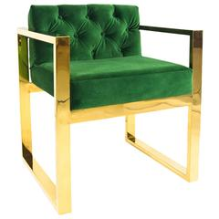 Modern Style Kube Chair Tufted in Emerald Green Velvet w/ Brass U-Leg Frame