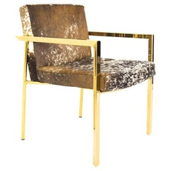 Modern Style Argentina Dining Chair in Cowhide w/ Pitched Back & Brass Frame
