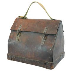 Early 20th Century Folk Art Handmade Leather Lunch Box Pail