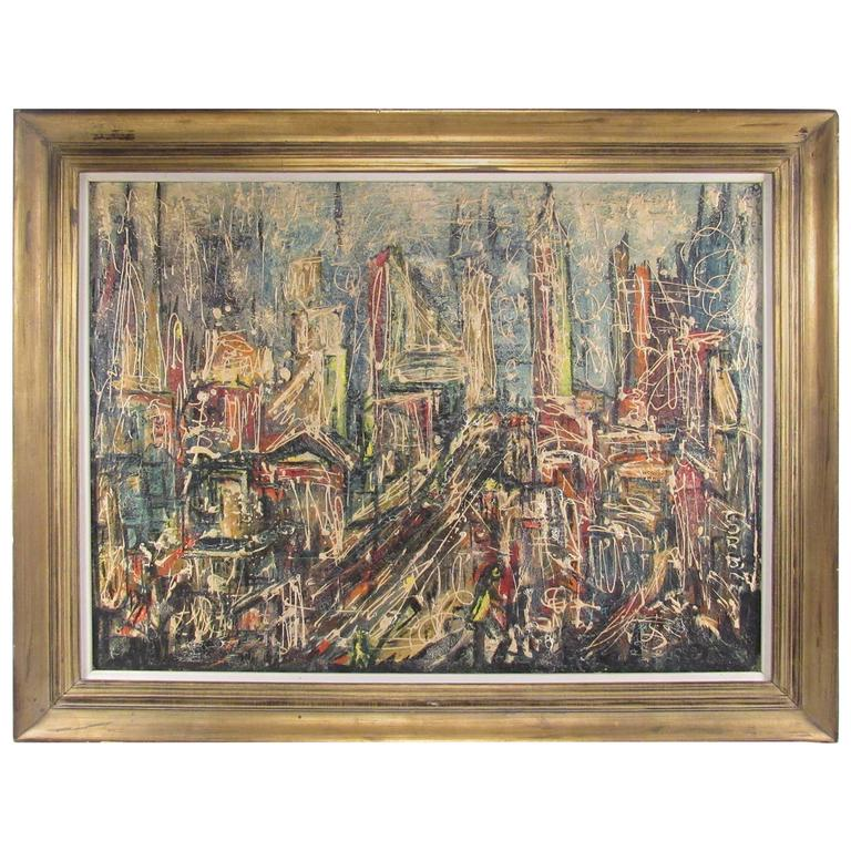 Abstract Skyline Painting by David T. Corson For Sale