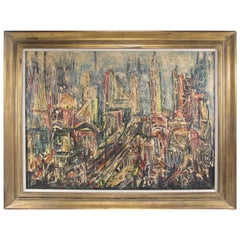 Mid Century Abstract Skyline Painting by David T. Corson