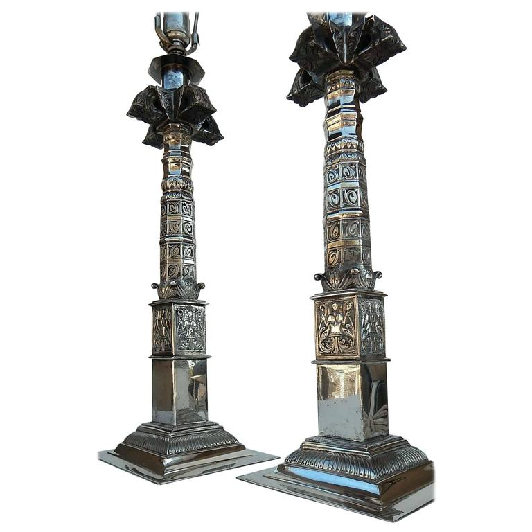 Pair Hollywood Regency Lamps, Heavily Silver Plated