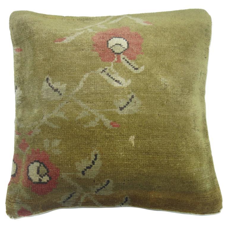 Green Turkish Rug Pillow At 1stdibs