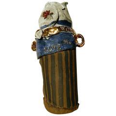 Maurice Grossman Art Pottery Vase - Funk, Love & Roses, Hippie Pot