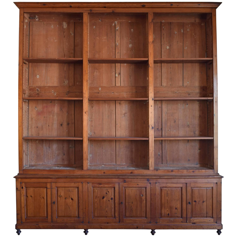 Italian Circa 1870 Large Bookcase In Chestnut, Open