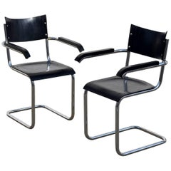 Pair of Chic Ebonized Modernist B43 Armchairs by Mart Stam for Thonet