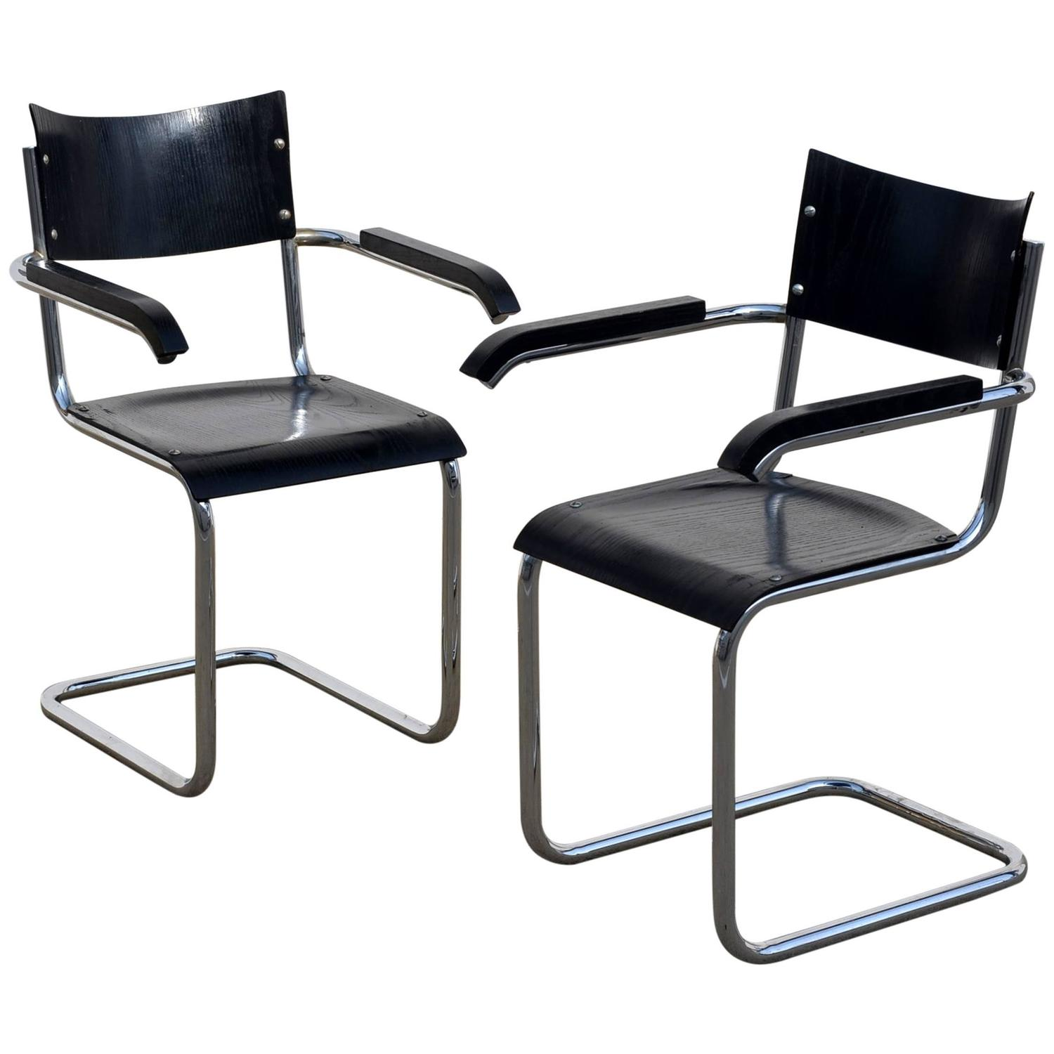 pair of chic ebonized modernist b43 armchairs by mart stam. Black Bedroom Furniture Sets. Home Design Ideas