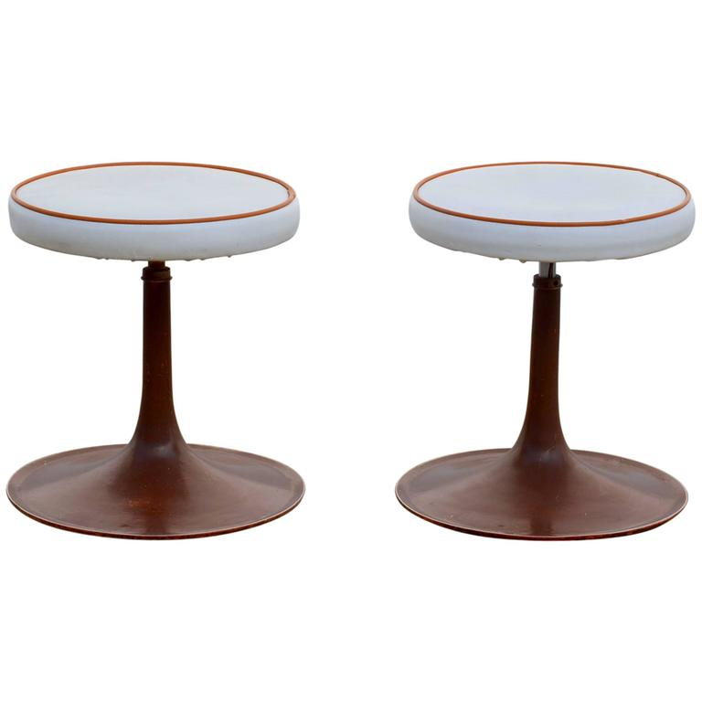 Pair of Cast Aluminum Upholstered Swiveling Stools by Thinline