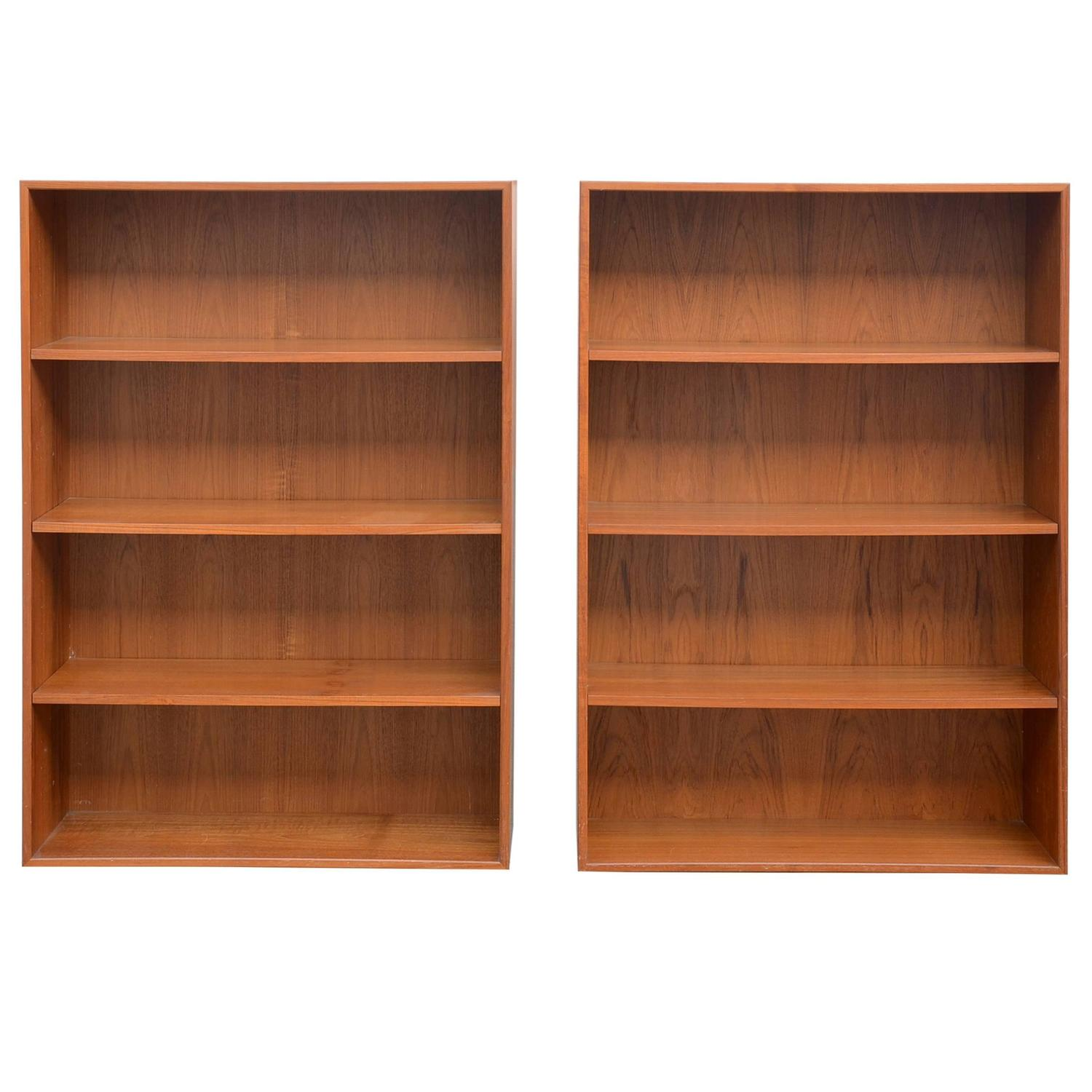 Pair of danish teak modern floating wall shelves or nightstands pair of minimalistic hanging danish teak shelving units by dyrlund amipublicfo Images