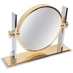 Karl Springer Modernist Sculptural Mixed Metals Vanity Mirror