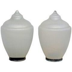 Pair of Heavy Pressed Glass Decorative Street Light Finials