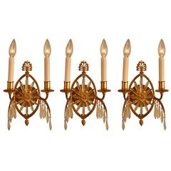 Set of Three 19th Century French Bronze and Crystal Sunburst Wall Sconces