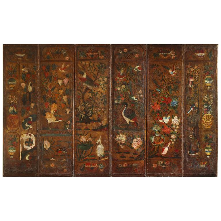 English Six Panel Chinoiserie Polychrome Decorated Leather Screen, circa 1700 For Sale