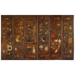 Antique Six-Panel Chinoiserie PolychromeDecorated  Leather Screen, circa 1700
