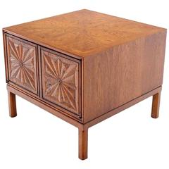 Cube Shape Carved Front Stand End Table