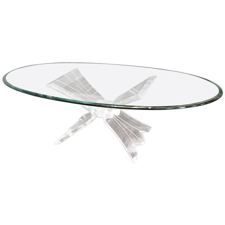 Mid-Century Coffee Table with Lucite Base and Glass Top
