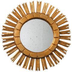 Mid-Century Medium Size Giltwood Sunburst Mirror