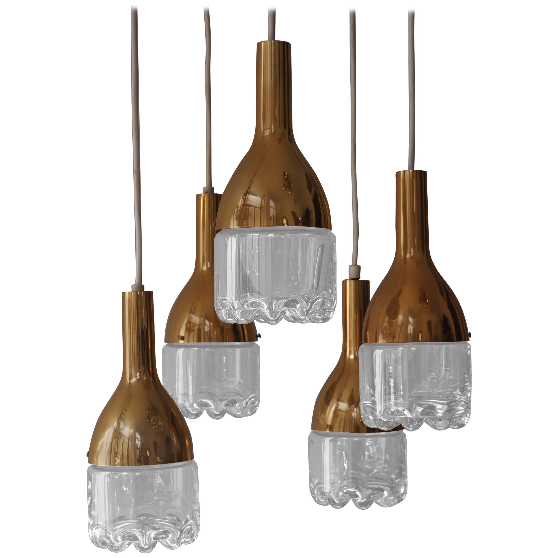 Italian Brass and Glass Ceiling Light
