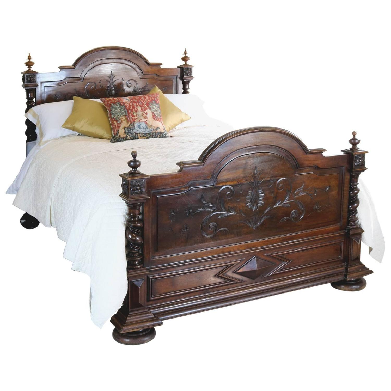 French Chateau Bed in Walnut at 1stdibs