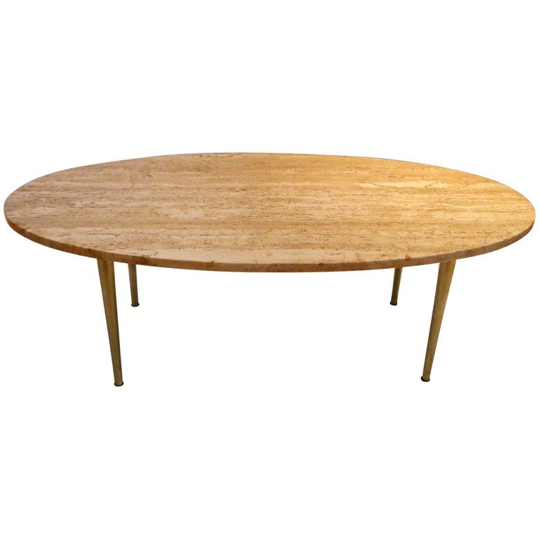 Mid-Century Modern Marble And Brass Tapered Legs Oval