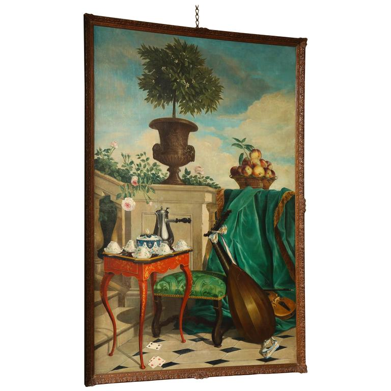 """""""Still Life Painting of a Garden Terrace,"""" Oil on Canvas, French, circa 1820"""