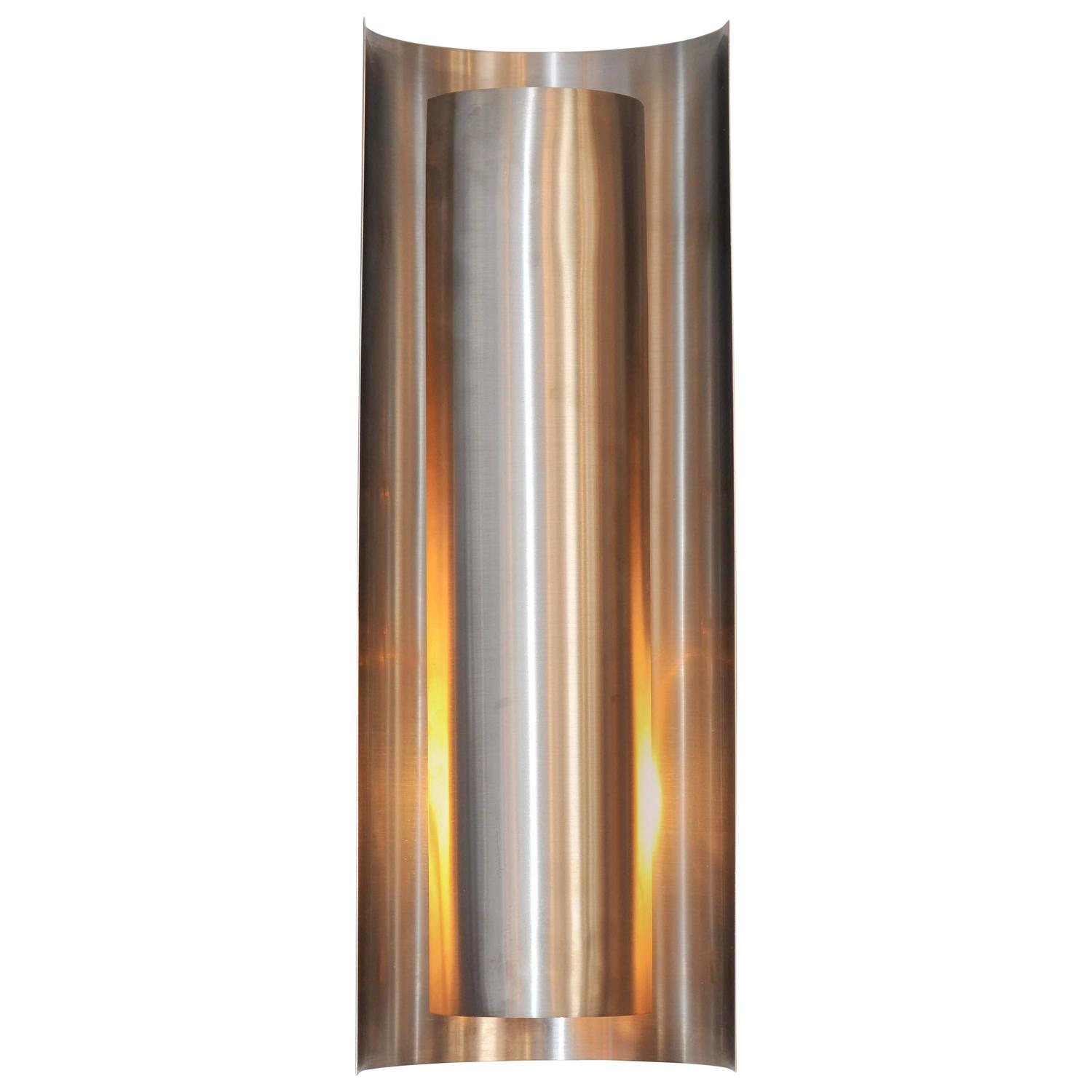 contemporary wall light in brushed stainless steel and. Black Bedroom Furniture Sets. Home Design Ideas