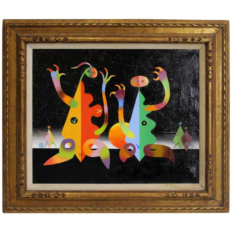 Modern Abstract Surrealist Oil Painting by Seymour Zayon, Joan Miro Style