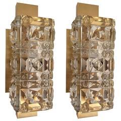 Pair of 1950s Austrian Kinkeldey Crystal Wall Lights