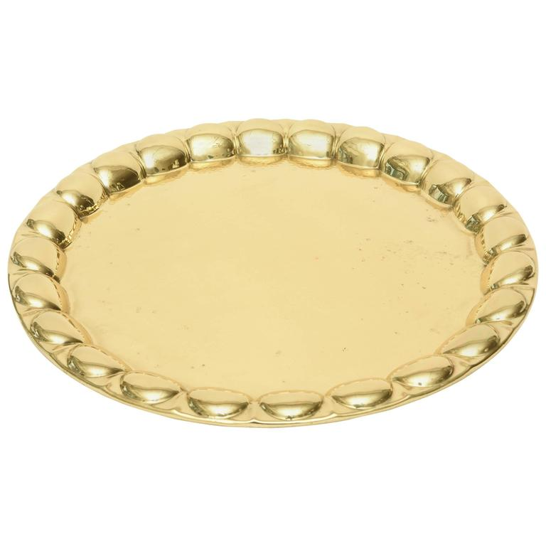 Hand-Hammered Circular Polished Brass Monumental Serving/Barware Tray