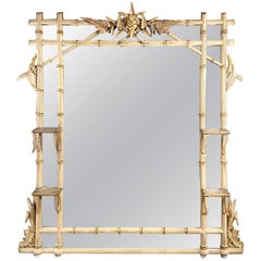 Unusual 19th Century Painted and Parcel Gilt Faux Bamboo Mirror