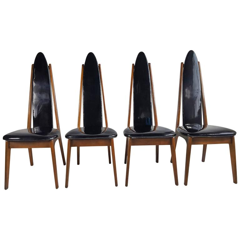 Set Of Four Black Patent Leather Modernist Regency Dining Chairs For Sale At