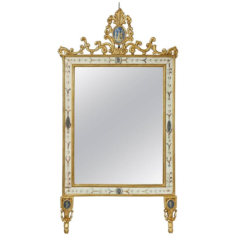 Italian Neoclassical Period Painted and Parcel Giltwood Mirror, circa 1820