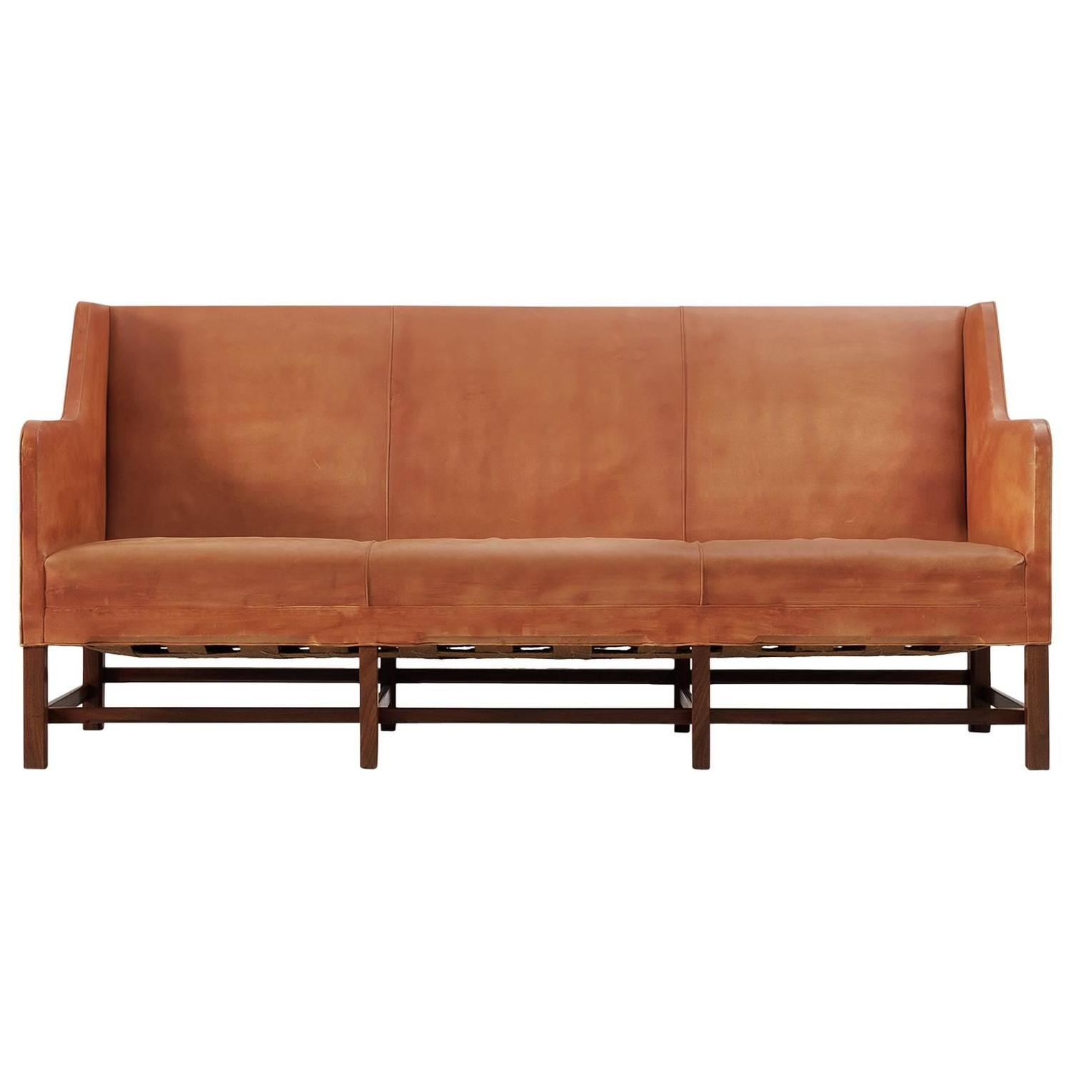 early kaare klint sofa in patinated cognac leather for rud rasmussen for sale at 1stdibs. Black Bedroom Furniture Sets. Home Design Ideas