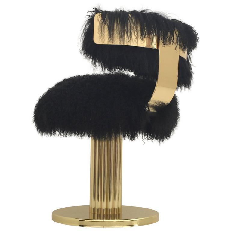 Brass Swiveling Vanity Chair In Black Mongolian Fur At 1stdibs