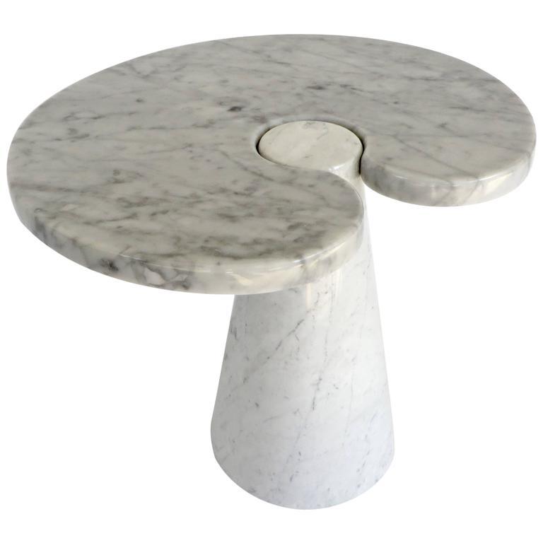 Angelo Mangiarotti Italian Carrara Marble Low Side Table, Eros Series