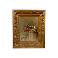 French Framed Oil on Board Still-Life Painting Depicting Pansies, 19th Century